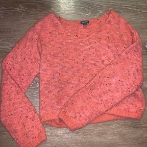 Coral Cropped Sweater
